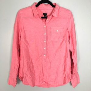 J.Crew Pink Button Up Popover Top Size Small